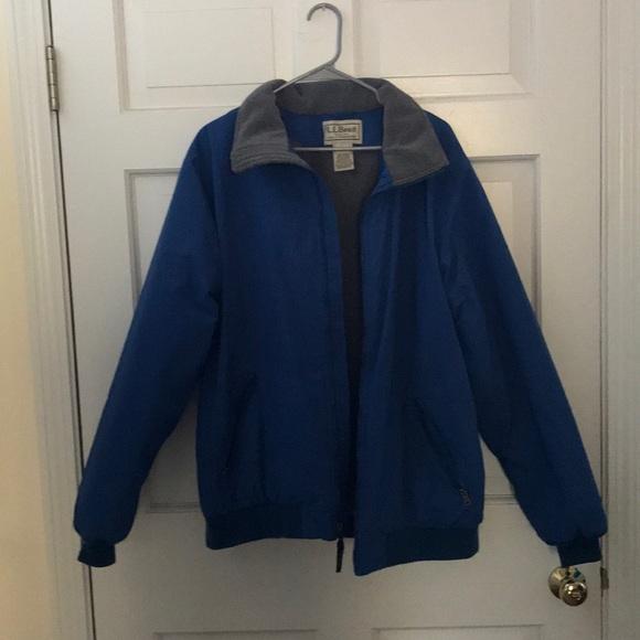 Ll Bean Mens Warm Up Jacket Fleece Lined